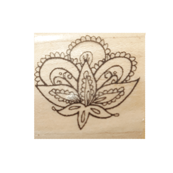 B4149 PAISLEY חותמת גומי על עץ פייסלי פרח