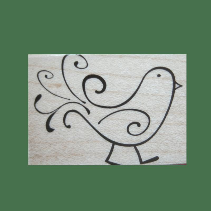 C4689 SKETCHED BIRD חותמת גומי על עץ ציפור משורטטת