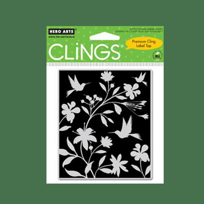 CG270 חותמת גומי פרחים וציפורים