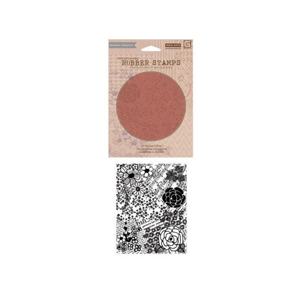 CG482 חותמת גומי רקע פרחים ומוזיקה