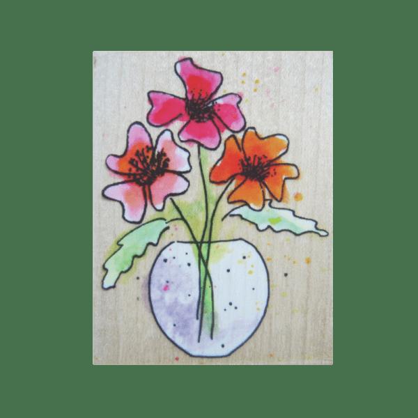 D3086 ANGELS IN A VASE חותמת גומי על עץ פרחים בארגטל