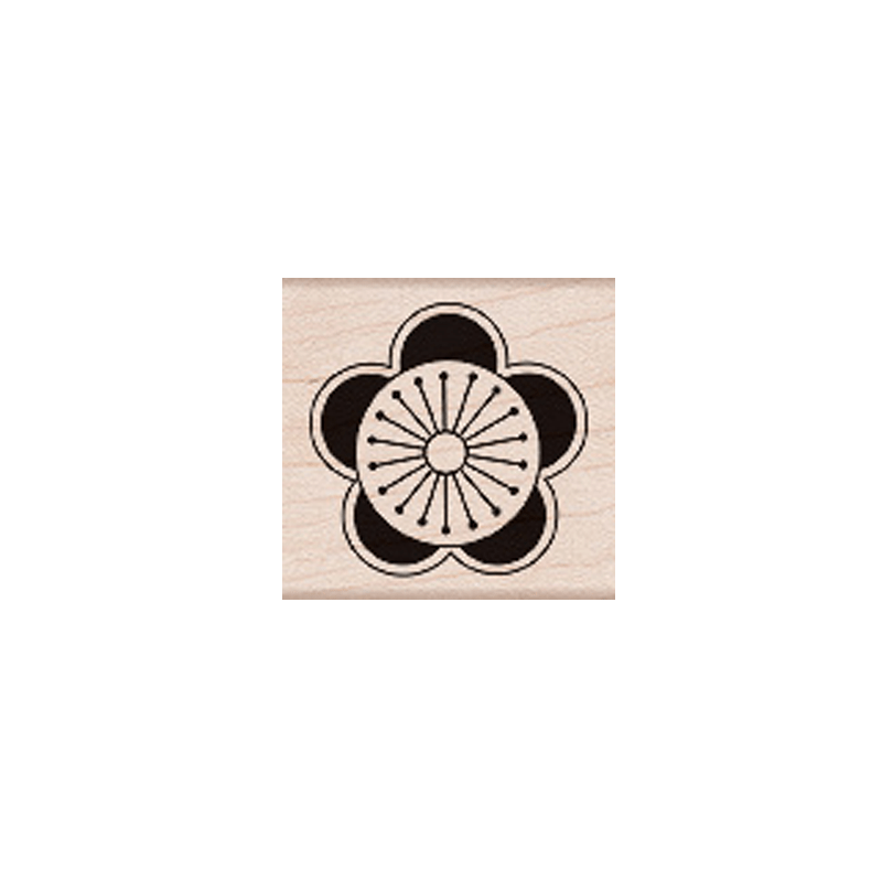 D4992 CITRUS CIRCLE חותמת גומי על עץ עיגול פרי הדר