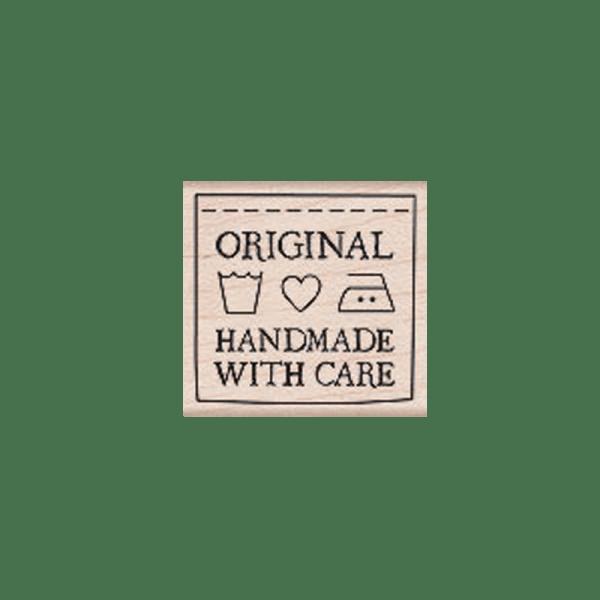 D5309 HANDMADE WITH CARE חותמת גומי על עץ עשוי בעבודת יד באהבה