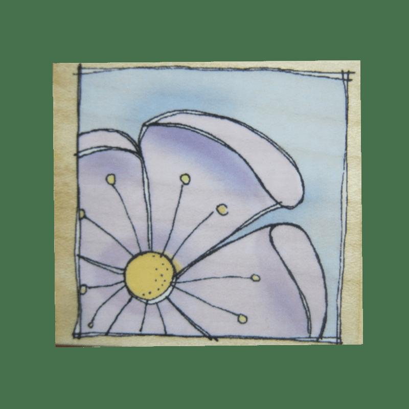 E3754 FULL BLOSSOM חותמת גומי על עץ פרח פינתי