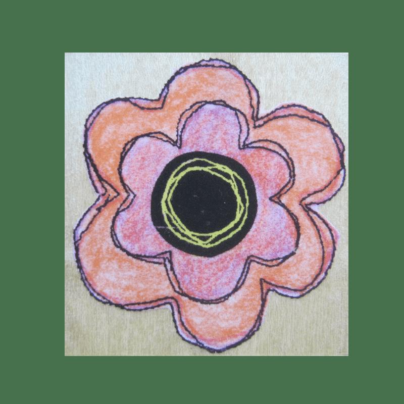E4146 STITCHED LAYERED FLOWER חותמת גומי על עץ פרח תפור בשכבות