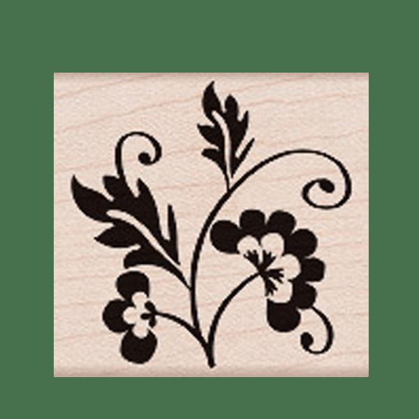 E4906 FLOWER FLURISH חותמת גומי על עץ פרח מסולסל