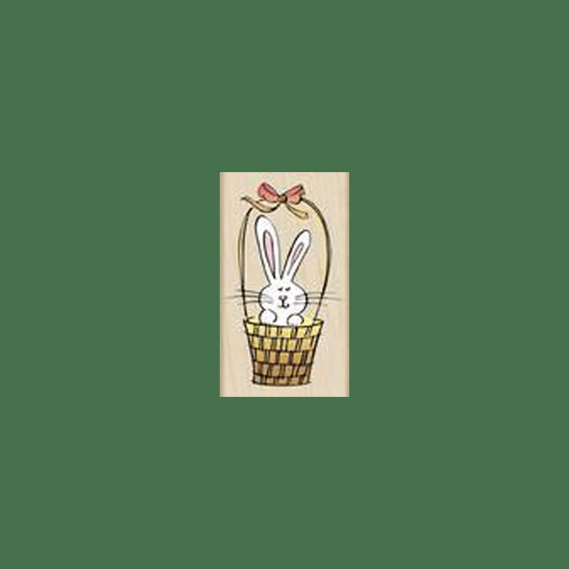 F2894 BUNNY IN A BASKET חותמת גומי על עץ ארנב בסלסלה