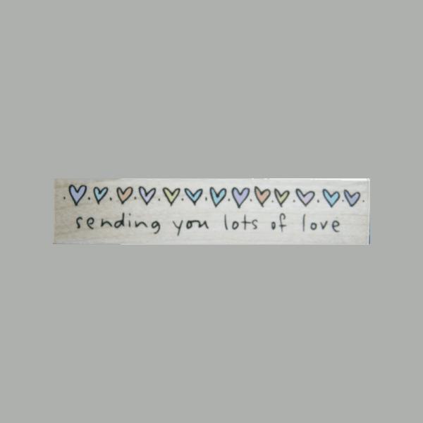 F3303 SENDING YOU LOTS OF LOVE חותמת גומי על עץ שולחת המון אהבה