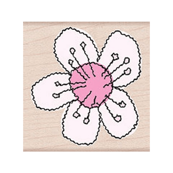 F4029 STITCHED FLOWER חותמת גומי על עץ פרח תפור