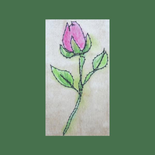 F4123 STITCHED ROSE חותמת גומי על עץ שושנה תפורה