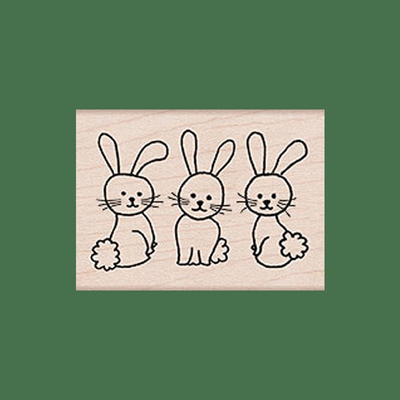 F5394 3 BUNNIES חותמת גומי על עץ 3 ארנבות קטנות