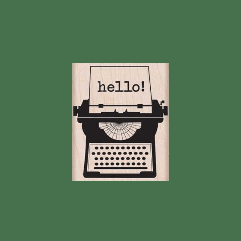 F5730 HELLO TYPEWRITTER חותמת גומי על עץ מכונת כתיבה