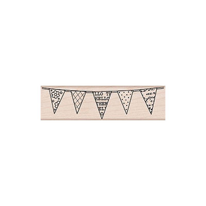 H5428 HELLO FLAGS חותמת גומי על עץ דגלונים