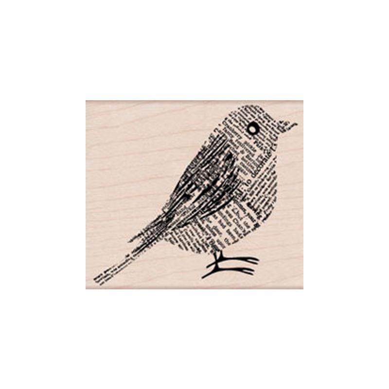 H5580 NEWPRINT BIRD חותמת גומי על עץ ציפור מעיתון