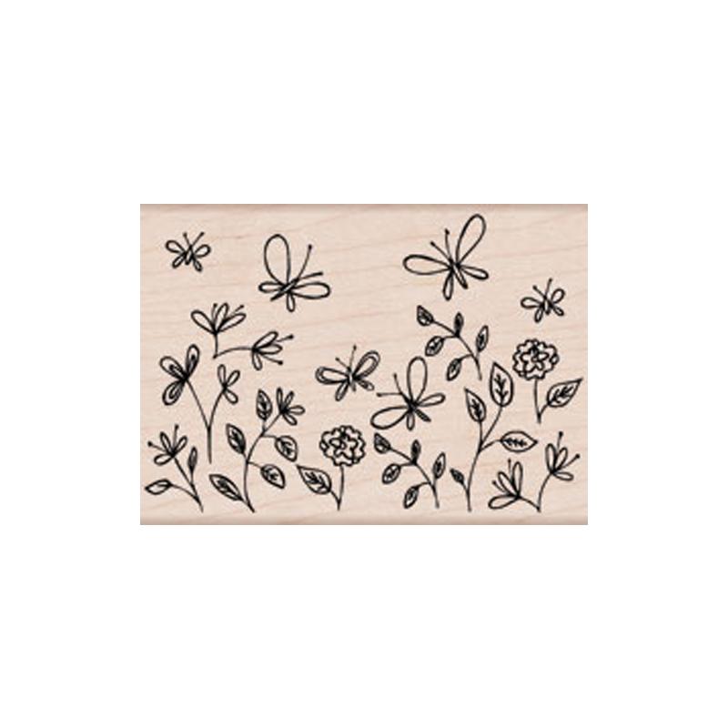 K5209 BUTTERFLY GARDEN חותמת גומי על עץ גן של פרפרים