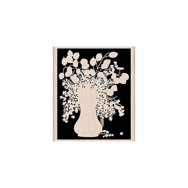 K5339 חותמת גומי על עץ צללית אגרטל עם פרחים