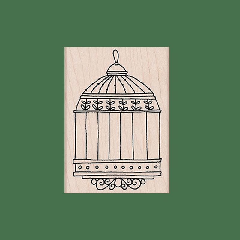 K5343 BIRDCAGE חותמת גומי על עץ כלוב לציפור