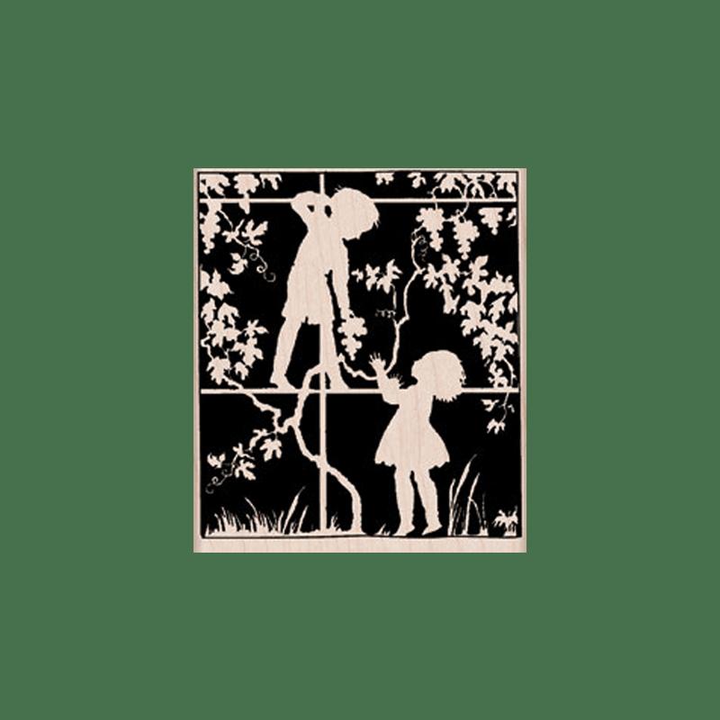 K5353 IN THE GARDEN חותמת גומי על עץ ילדים בגינה