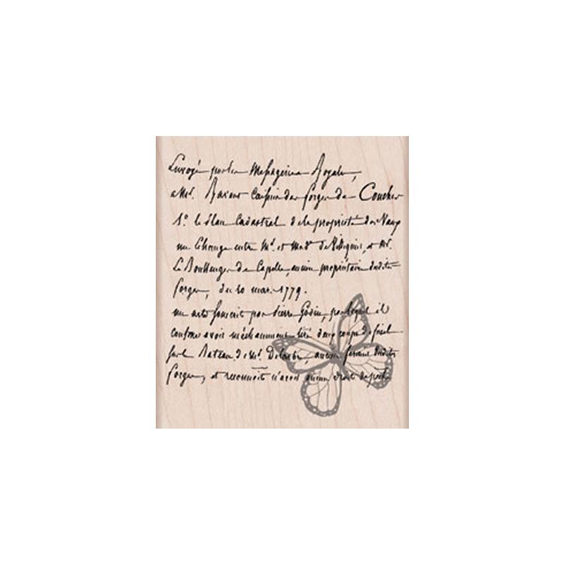 K5375 FRENCH WRITTING WIHT BUTTERFLY חותמת גומי על עץ כתב צרפתי עם פרפרים