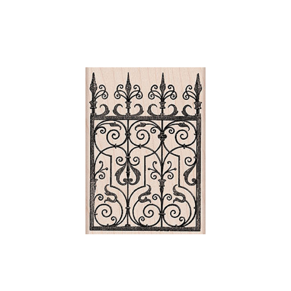K5421 SMALL METAL FLOURISH חותמת גומי על עץ שער מהודר
