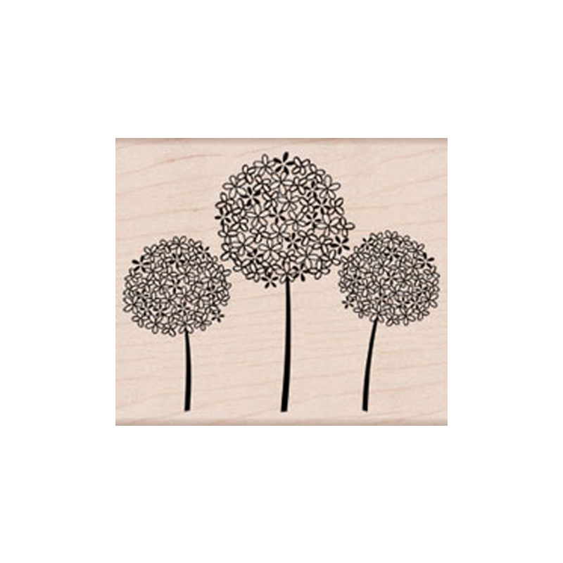 K5598 3 FLOWER BALLS חותמת גומי על עץ. 3 כדורי פרחים