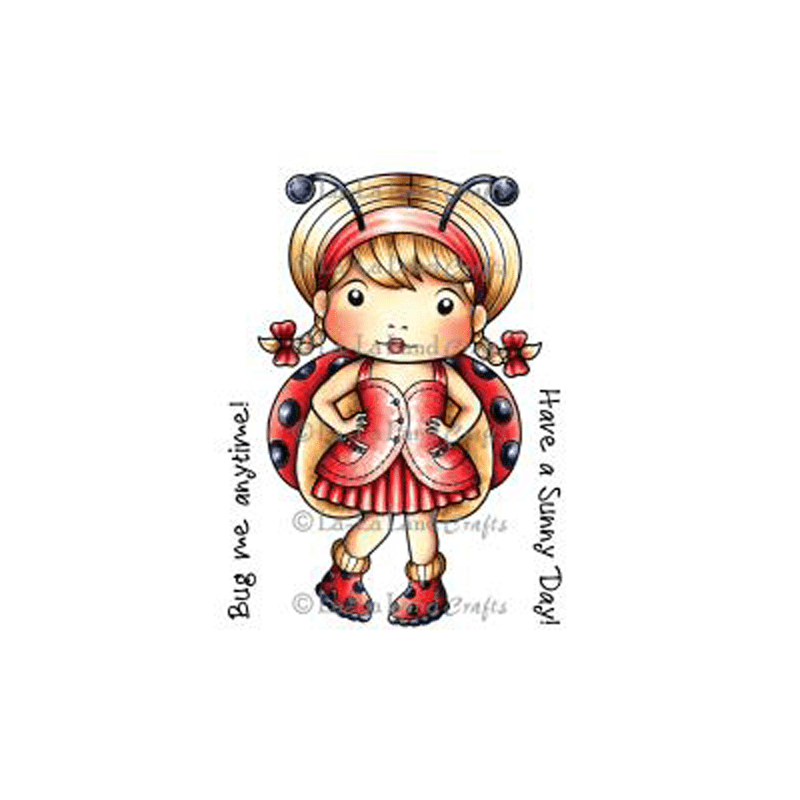 LADYBUG MARCI חותמת גומי אדום לבציעה ילדה מחופשת כחיפושית