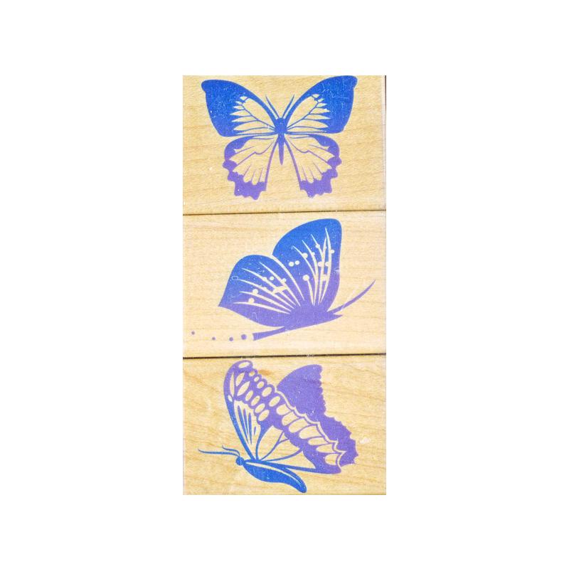 LL205 BUTTERFLY חותמות גומי על עץ פרפרים