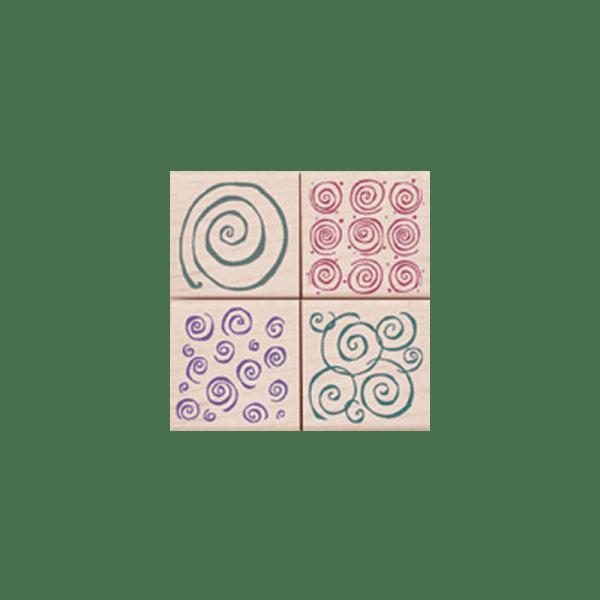 LL746 SWIRL PATTERN חותמות גומי על עץ צורה מפותלת