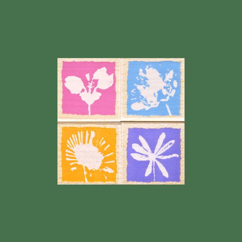 LL842 DECORATIVE FLOWERS חותמות גומי על עץ דוגמת נגטיב של פרחים