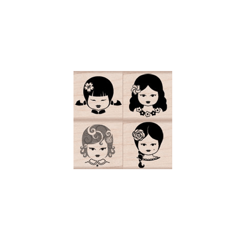 LP155 FACES OF FRIENDSHIP חותמות גומי על עץ פרצופים של חברות