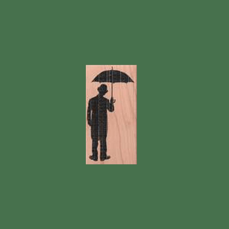 MAN WITH UMBRELLA חותמת גומי על עץ איש עם מטריה של טים הולץ