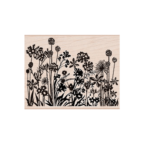 S5033 DESIGN BLOCK SILHOUETTE חותמת רקע שדה של פרחים