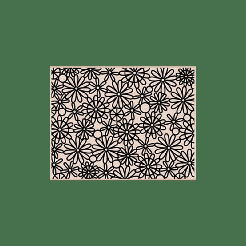 S5472 DAISY OUTLINE PATTERN חותמת גומי על עץ רקע חנניות בקו מתאר