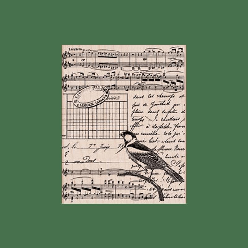 S5501 MUSICAL COLLAGE חותמת גומי על עץ רקע קולאז' מוזיקלי