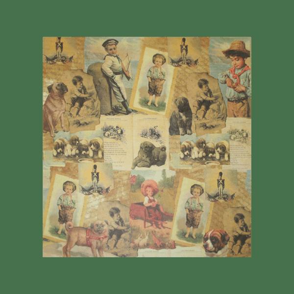 "LITTLE-BOYS נייר מדוגם 30 על 30 ס""מ מראה וינטג' בנים קטנים"