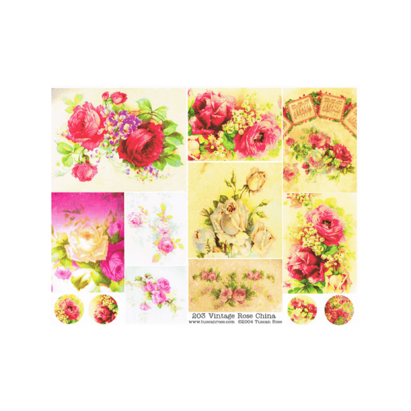 VINTAGE-ROSE-CHINA דף תמונות של שושנים בסגנון וינטג'
