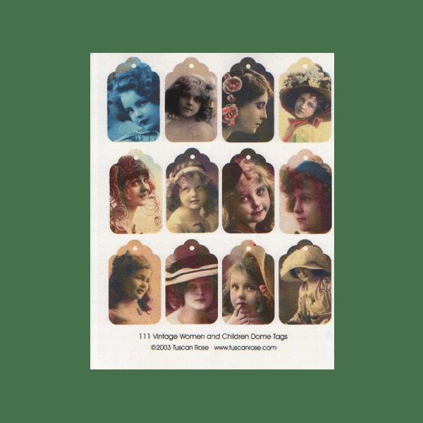 VINTAGE-WOMEN-AND-CHILDREN דף עבה תגים בסגנון וינטג' נשים וילדים