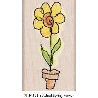 F4156 חותמות עץ פרח מתופר אביבי